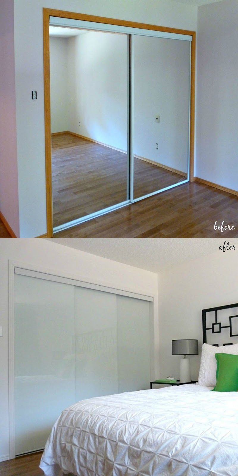 White Backed Glass Frameless Sliding Doors Update This Modern Bedroom // Sliding  Closet Door Makeover