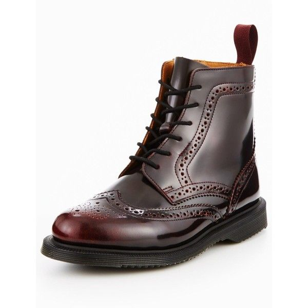 cf3916071a6 Dr Martens Delphine 8 Eyelet Brogue Boot (£135) ❤ liked on Polyvore  featuring