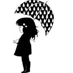 Coloriage Petite Fille Parapluie.Epingle Par 𝙼 Sur A Pochoir Silhouette Portrait De