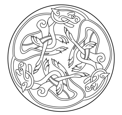 Ornamento Celta del Libro de Kells Dibujo para colorear | 4 ...