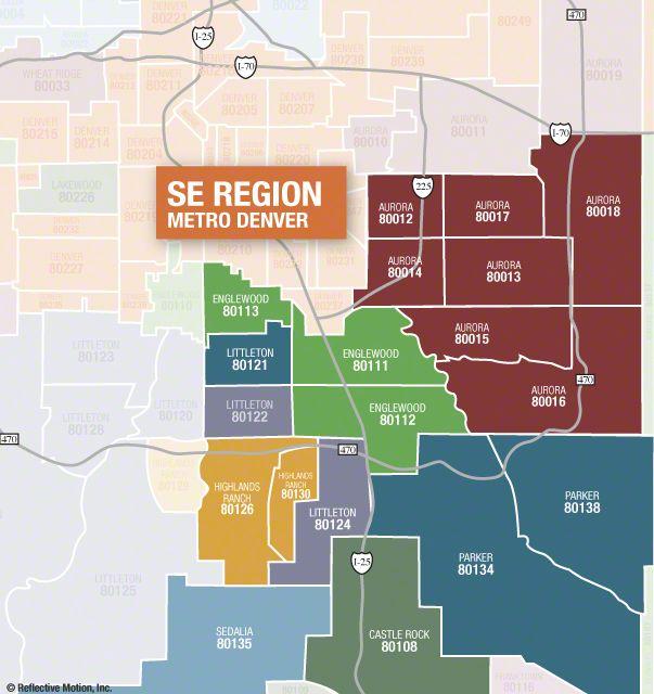 Se Colorado Map.Se Denver Regional Zip Code Map Colorado Denver Colorado