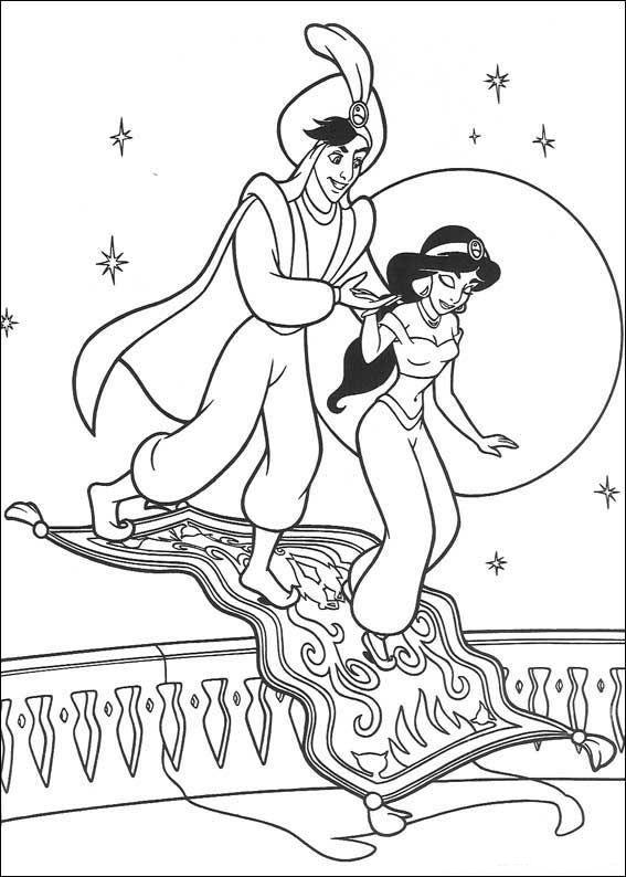 kleurplaat Aladdin - Aladdin | cartoons,ect 2 | Pinterest | Dibujos ...