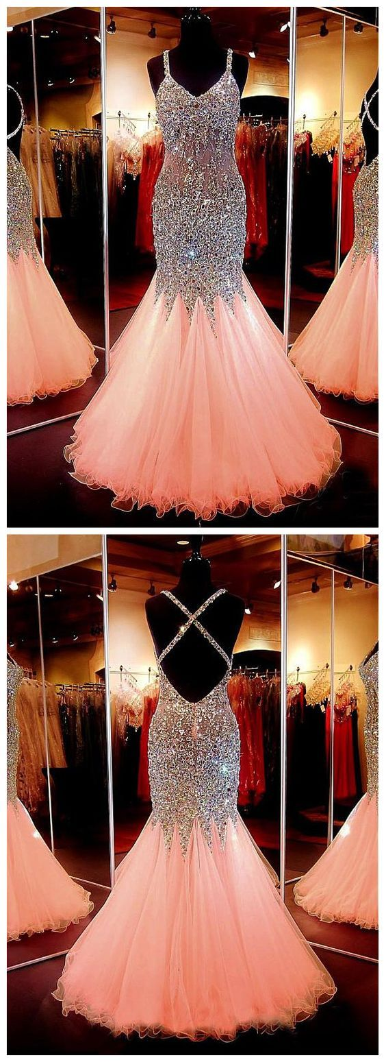 Beauty sweetheart neckline mermaid open back beading prom dress