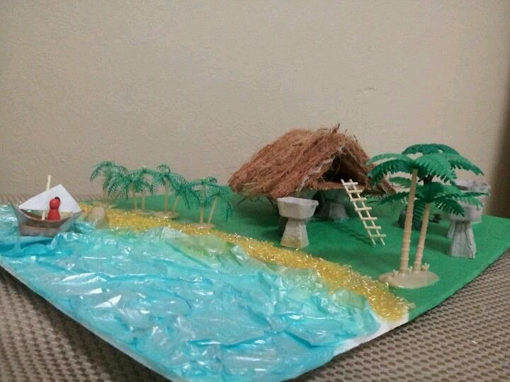 A model of an ancient Chamorro (Guam) housing made out of recycable items by Sheila Marie Matienzo