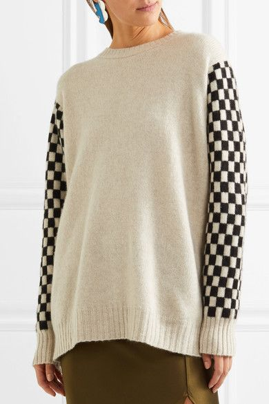 Checked Cashmere Sweater - Beige The Elder Statesman Outlet Eastbay Cl7Q0Y1E