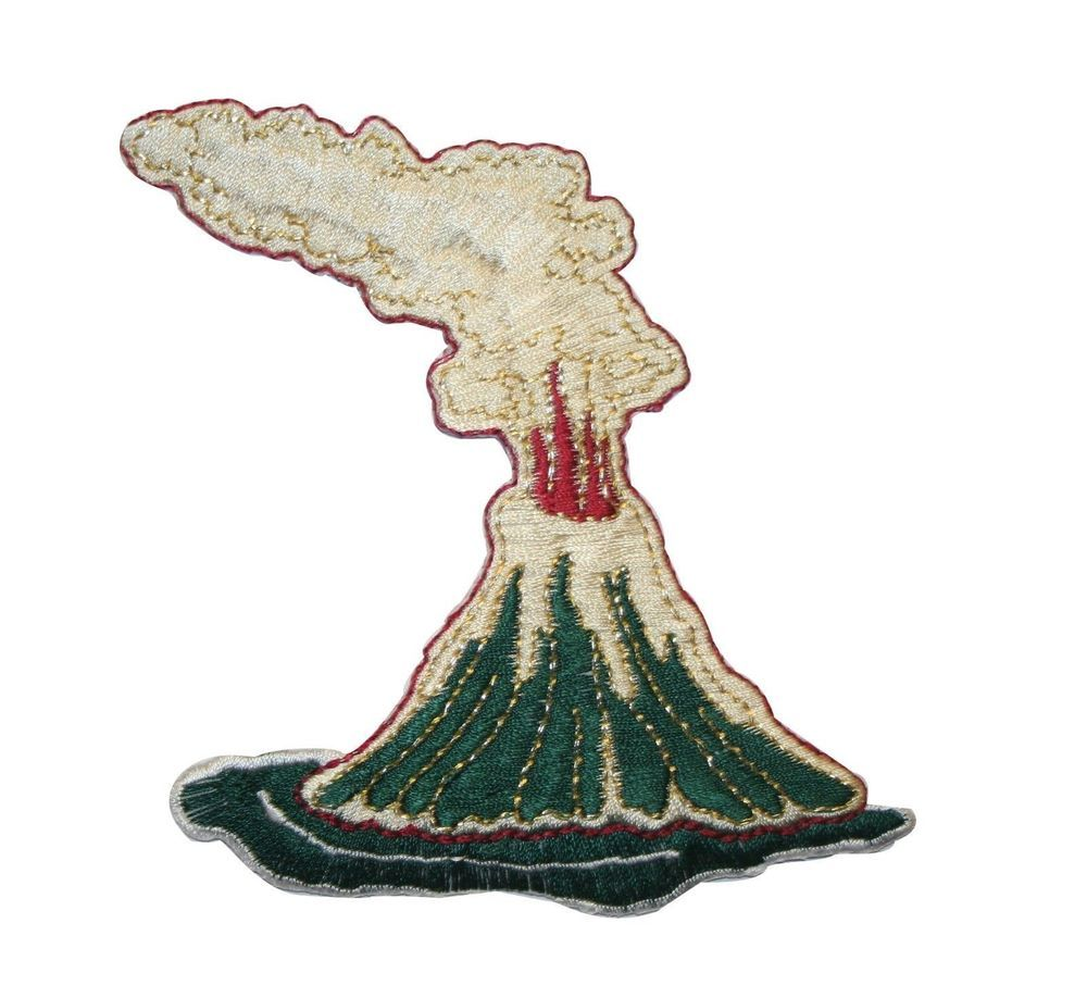 ID #3143 Volcano Embroidered Iron On Badge Applique Patch #ID