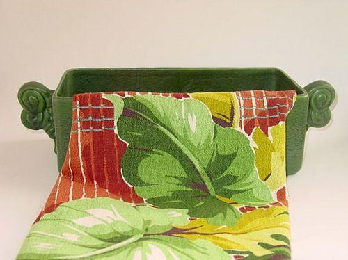 40's Haeger Planter with Vintage Barkcloth Print by haegernerd, via Flickr