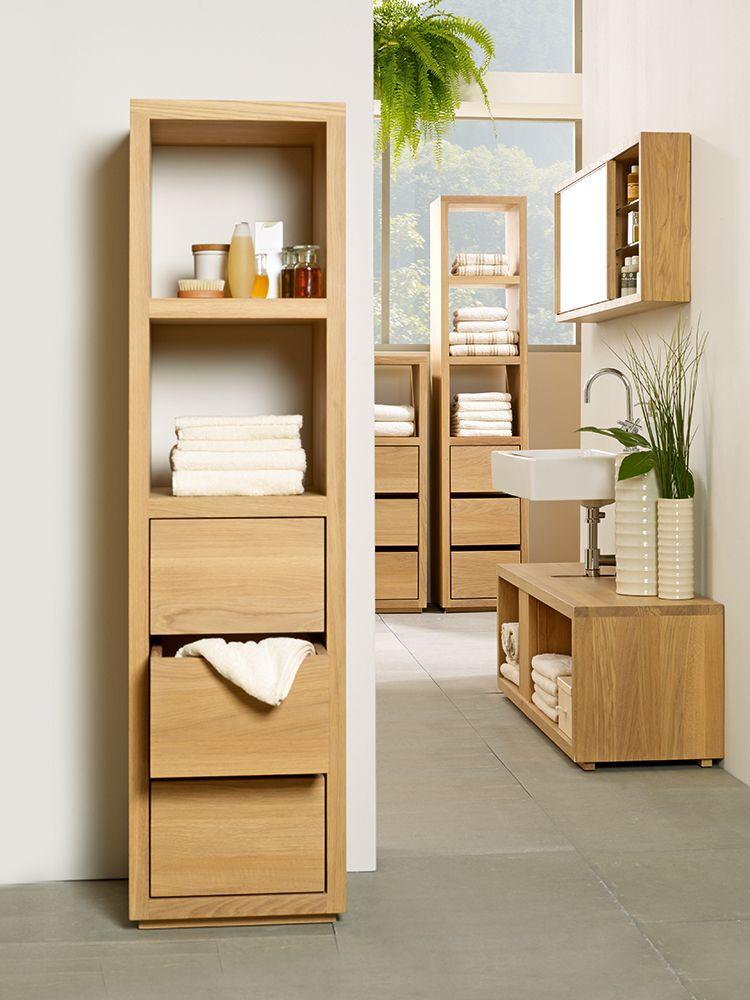 badezimmerschrank simply oak niedrig mit 3 laden und einem fach 42x42x122 cm eiche - Badezimmerschrank