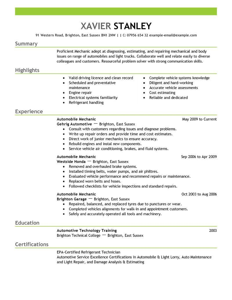 Best Mechanic Resume Example LiveCareer Resume summary