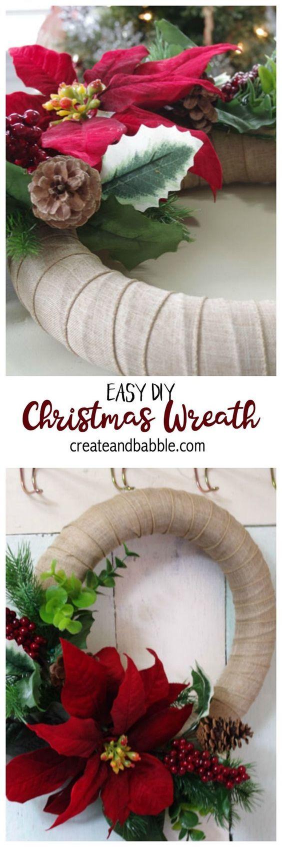 Easy Christmas Wreath To Make - Create And Babble