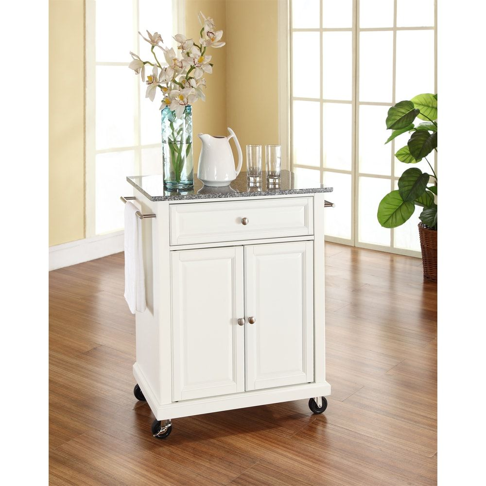 White Finish Solid Granite Top Portable Kitchen Cart Island White Crosley Furniture In 2020 Kitchen Cart Brown Wood Ikea Kitchen