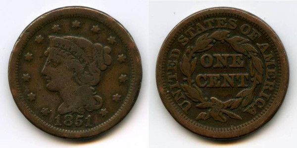 Nice 1851 Braided Hair Liberty Head Large Cent F Vf For Your American Coin Collection Coin Collecting Coins Old Coins