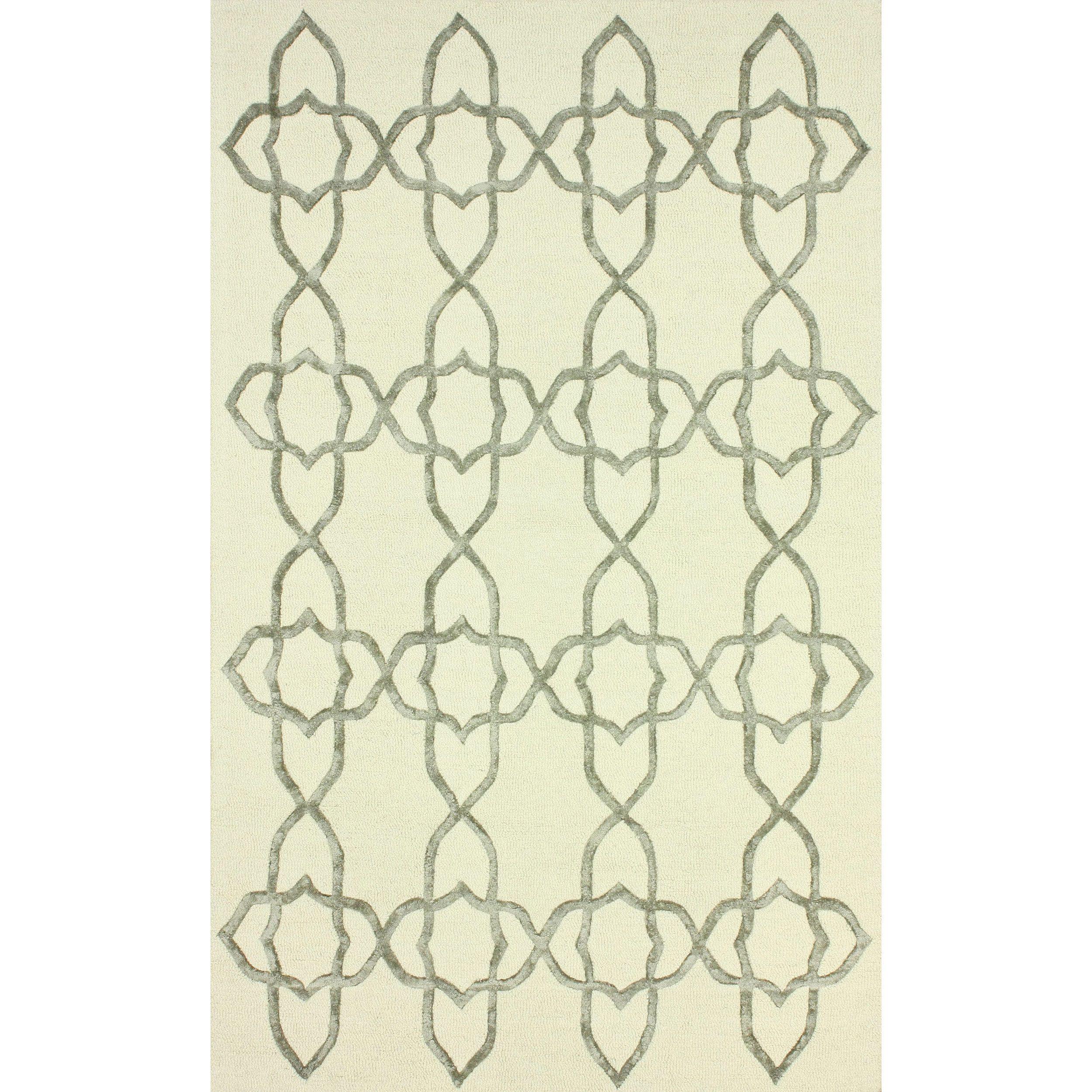 nuLOOM Handmade Wool/ Viscose Trellis Silver Area Rug (7'6 x 9'6 ... - nuLOOM Handmade Wool/ Trellis Silver Area Rug