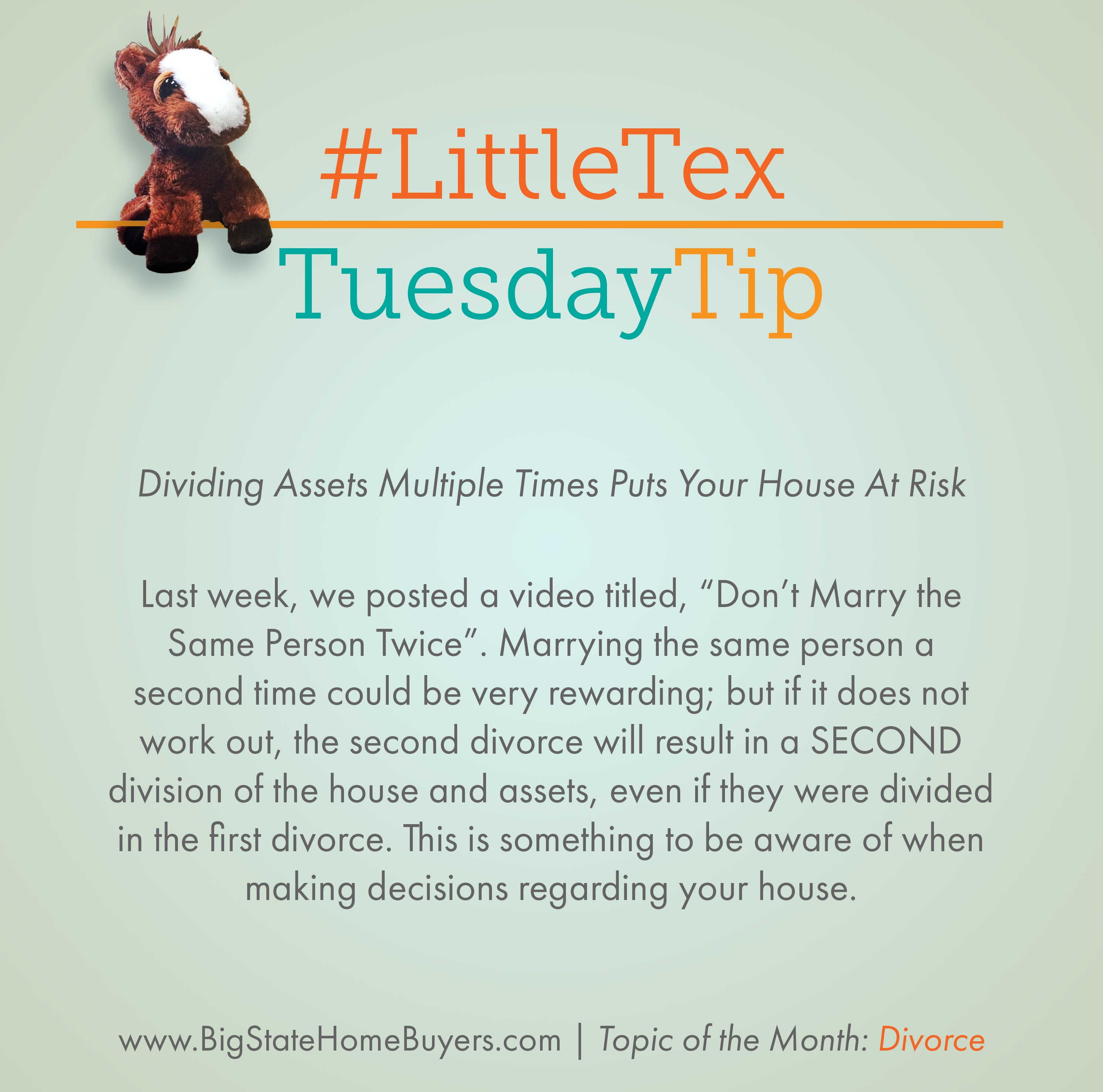 Littletex Tuesdaytip This Month S Topic Is Divorce Last Week We Posted A Video Titled Don T Ma Best Way To Invest Real Estate Tips Investment Firms
