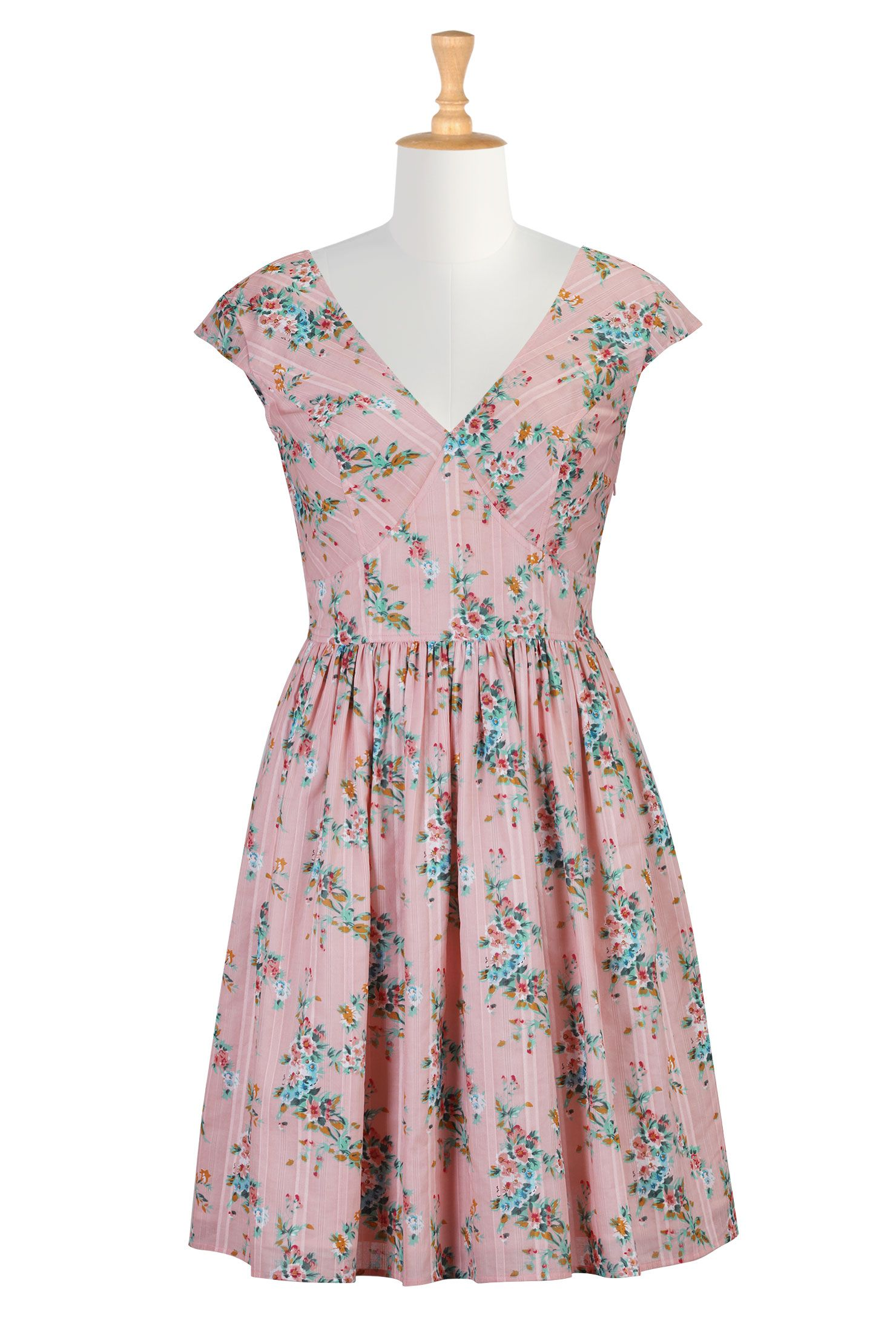 Old fashioned floral pattern dresses
