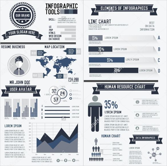 Corporate Infographic Resume Elements Data Template  Infographic