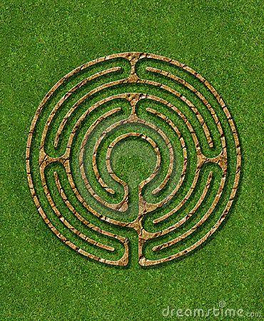 Meditation 6 Circuit Labyrinth With Stone Brick Grass
