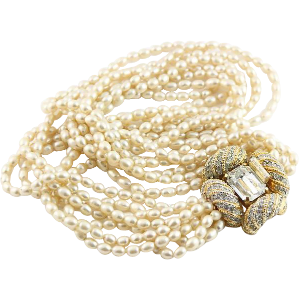 SALE    KJL Gold Colored and White Faux Pearl Seven Strand Necklace
