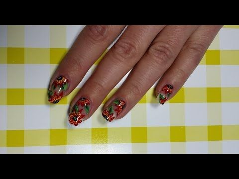Floral One Stroke Manicure Nail Art Design Youtube Nails