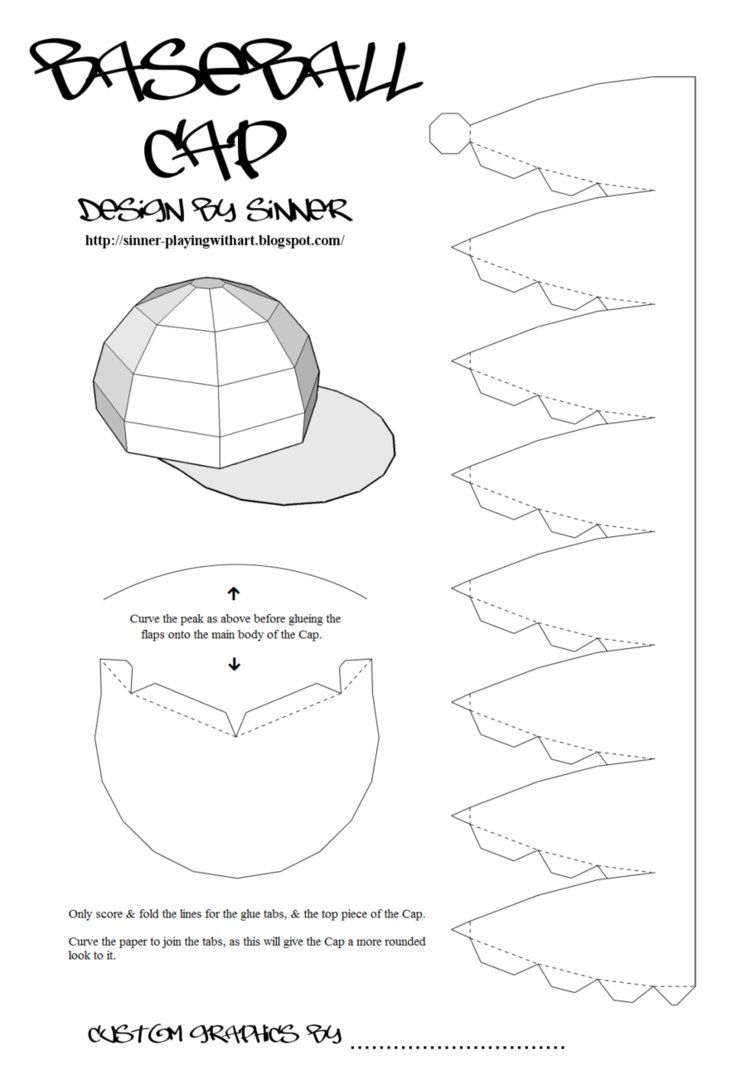 Print, Cut-out & build your own customisable baseball cap