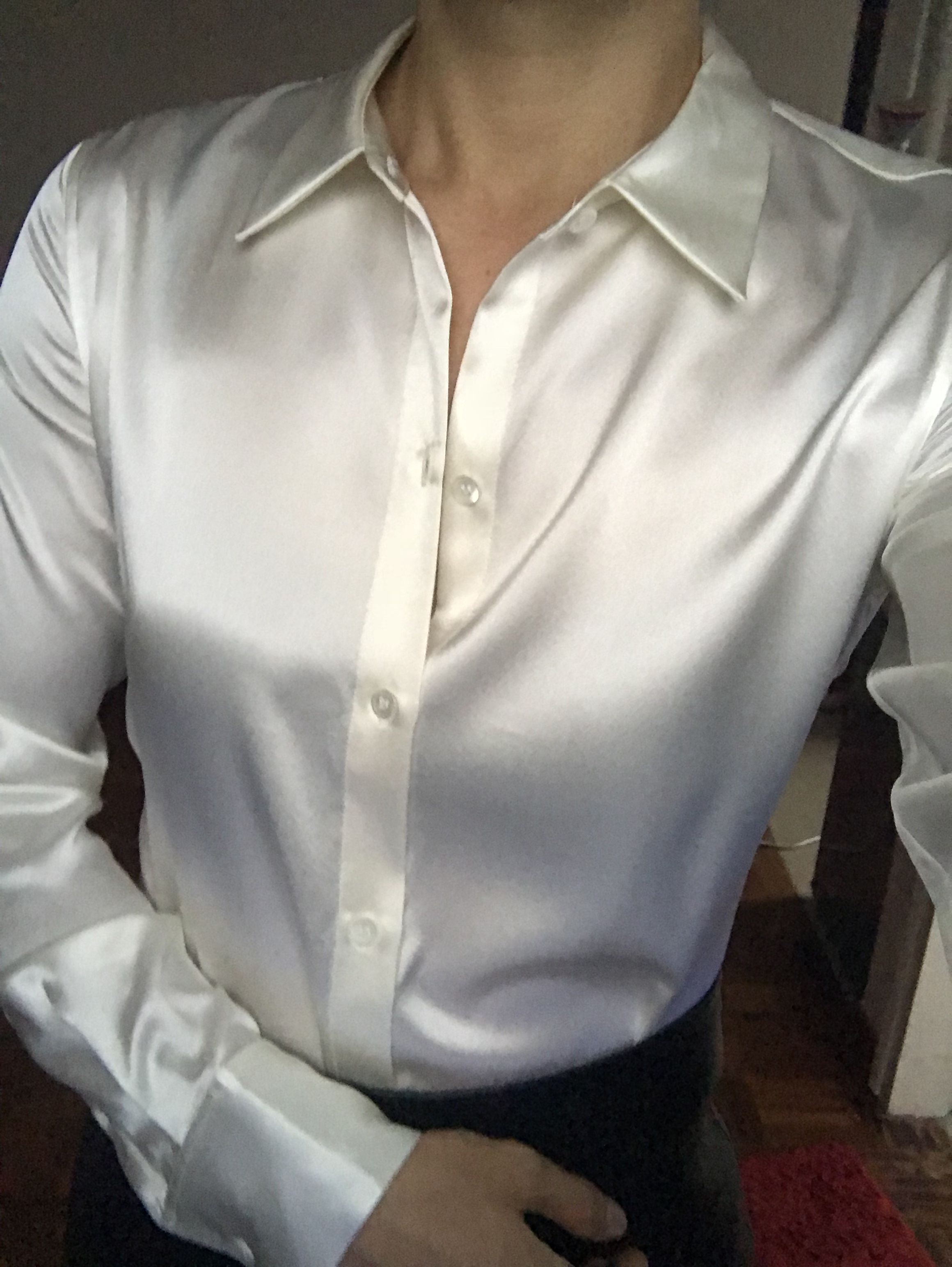 68f4e7a2b6 Theory perfect fitted satin shirt-cream | satin blouse in 2019 ...