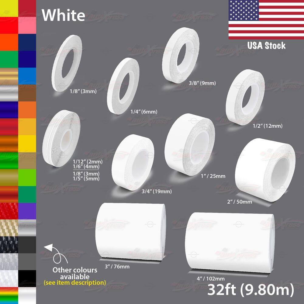 White Roll Vinyl Pinstriping Pin Stripe Car Motorcycle Line Tape Decal Stickers Unbrandedgeneric Car Decals Vinyl Vinyl Car Stickers Pinstriping