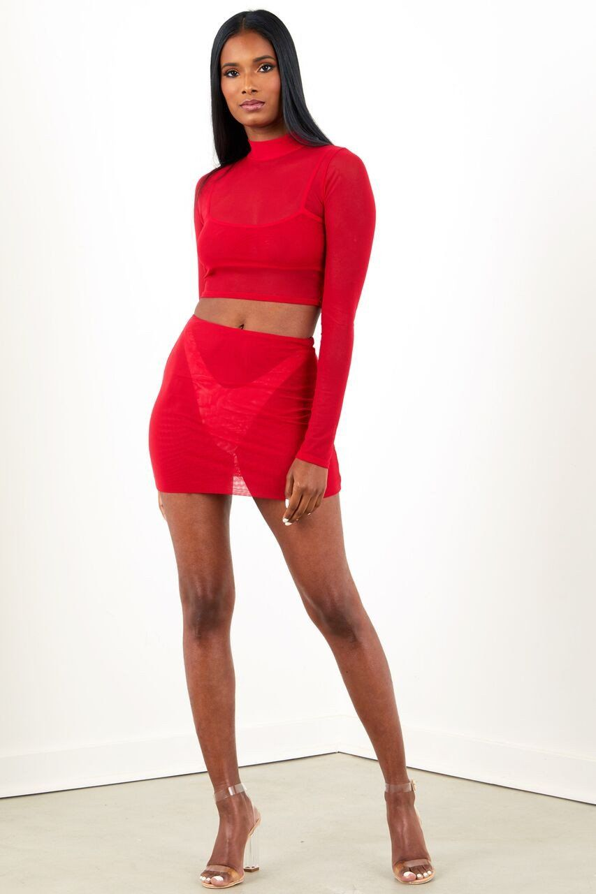 2325f186f89 Mesh Long Sleeve Set - Red