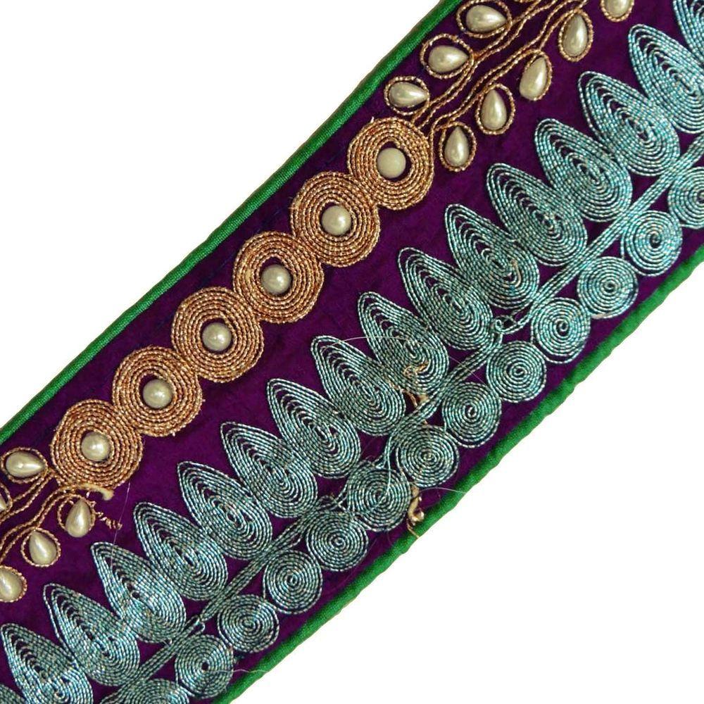 Decorative Fabric Trim Purple Designer Lace Sewing Sari Border Royal Tape 1 Yd