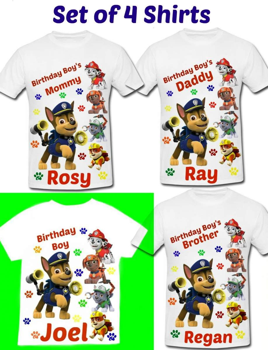 Paw Patrol Birthday Shirts Set Of 4 Family 2 Toddler And Adult Sizes Personalized With Child Name Age Celebrating A Big Milestone