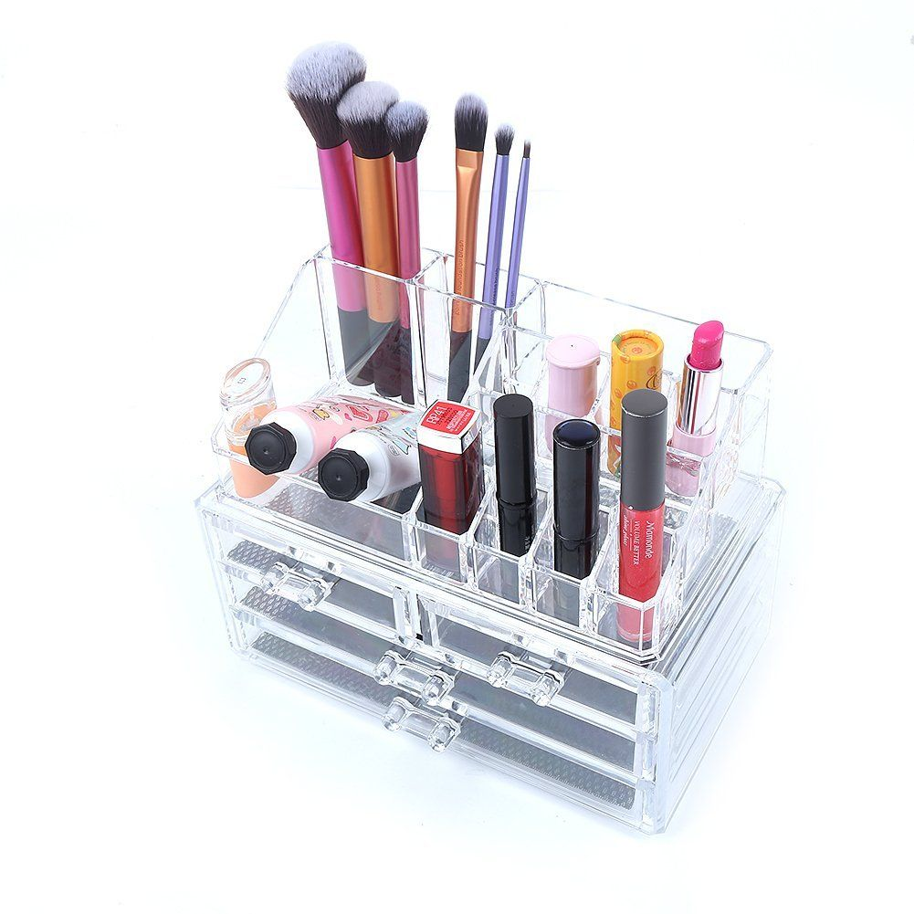 Bathroom Makeup Organizers amazon: honeyall® acrylic transparent jewelry cosmetic case