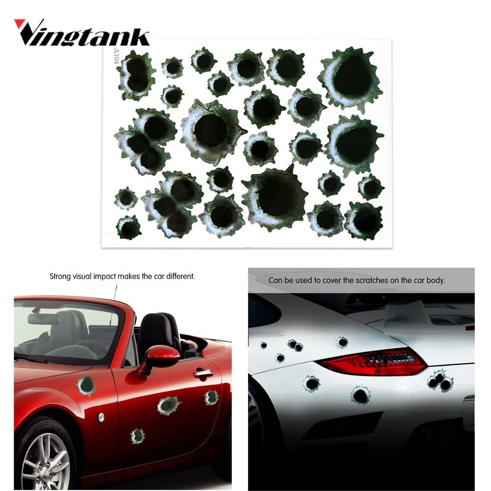 Vingtank 3d bullet hole car side stickers decal car covers accessories graphics auto motorcycle decoration sticker car styling