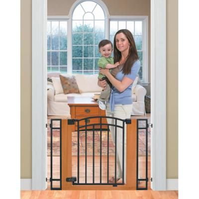 Oooh I Like This Stylish Secure Metal And Wood Walk Through Gate Much Better Than Those Lattice Type Baby Gates Baby Gates Baby Safety Gate Metal Baby Gate