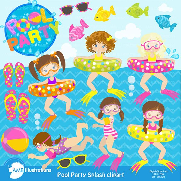 Pool party summer splash pack mygrafico illustrations cliparts pinterest party summer for Free clipart swimming pool party