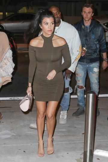 Kourtney Kardashian wearing Givenchy Pandora Box Bag, Stuart Weitzman Nudist Sandals and Mystylemode Olive T Neck Dress