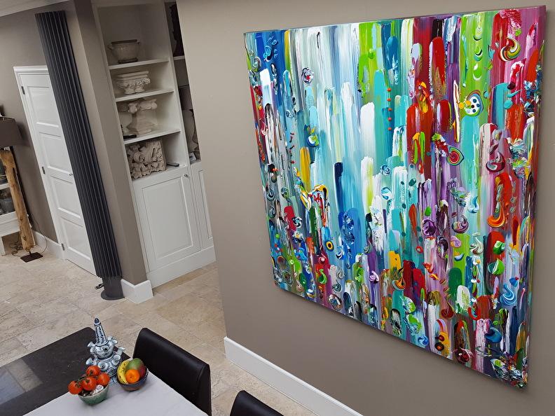 150 X 150 Cm Groot Kleurrijk Schilderij Dikke Verf Groot Doek In Primaire Kleuren Xl Wanddecoratie Kleurrijke Schilderijen Groot Doek Primaire Kleuren
