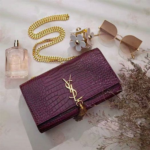 f3c033e516d9 YSL Spring Summer 2017 Bags Collection-Classic Saint Laurent Monogramme  Tassel Satchel in purple crocodile embossed leather