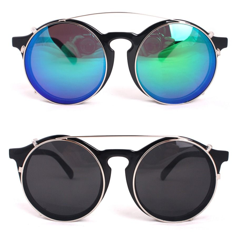 92b055293e JONTE Fashion Clip On Sunglasses Men Women Unique Glasses Black Round Frame   JONTE  Round
