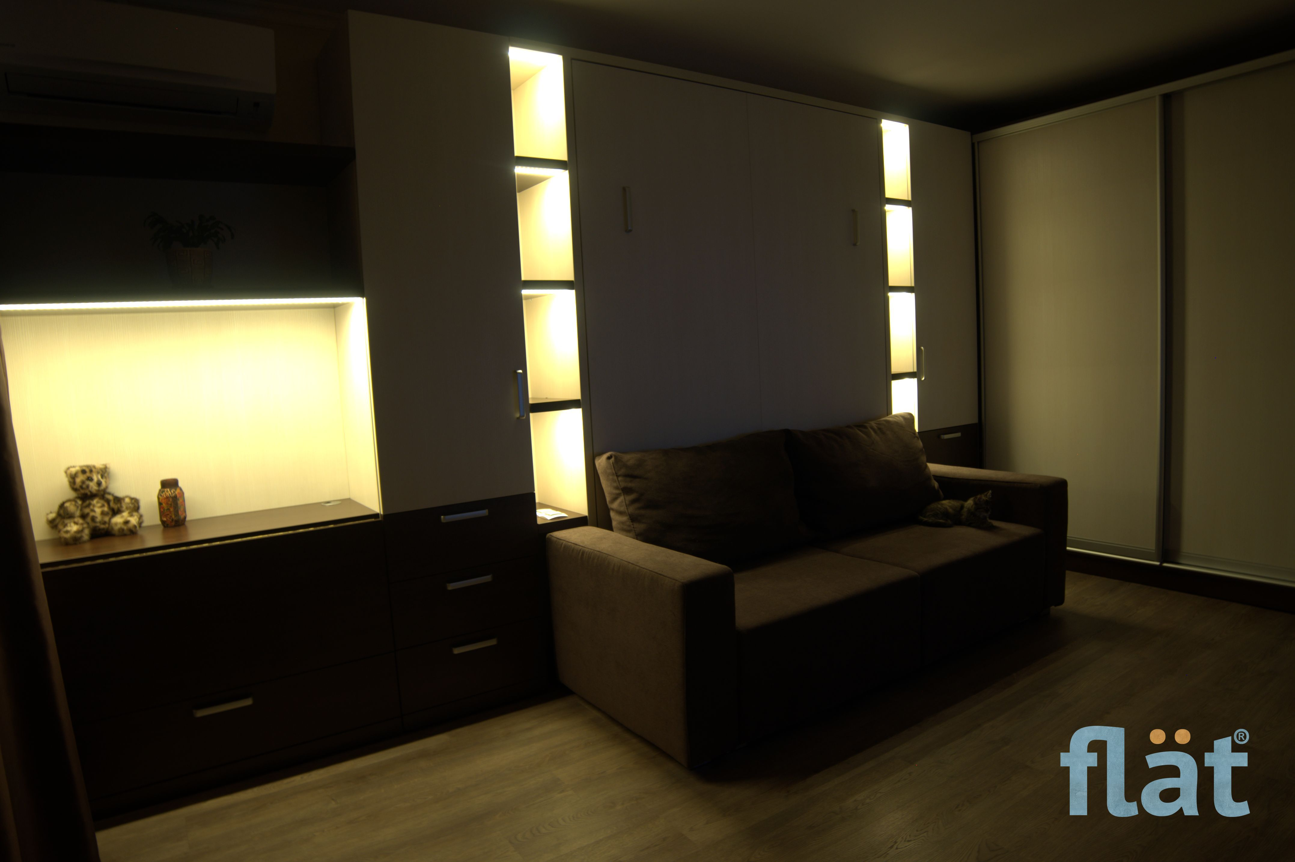 Queen size wall bed with LED Light. Шкаф кровать. Проект