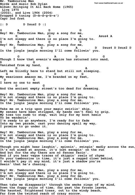 Bob Dylan song - Mr. Tambourine Man, lyrics and chords: | Sheet ...