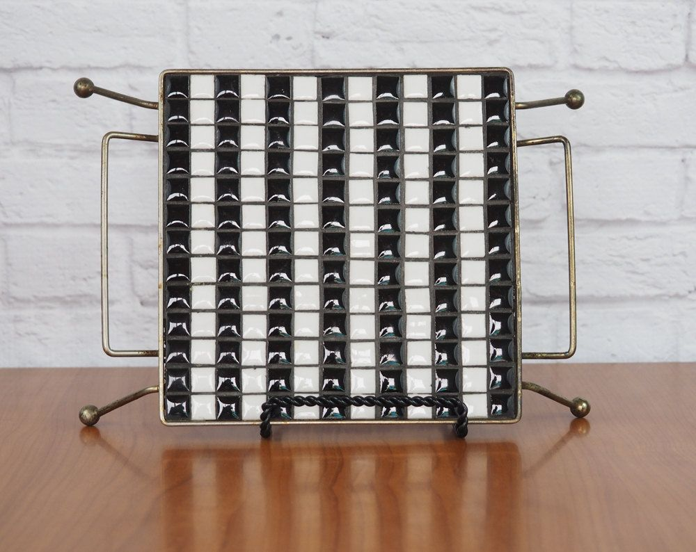 Vintage 50's Mosaic Tile Trivet Hot Plate with Metal Legs // Black and White Retro Atomic Kitchen Sputnik by FireflyVintageHome on Etsy