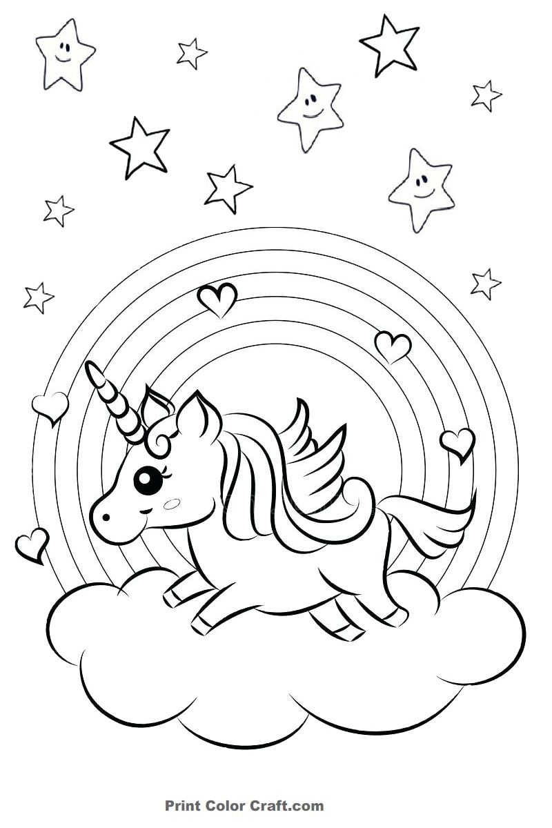 Rainbow And Hearts Colorful Unicorn Coloring Pages Unicorn