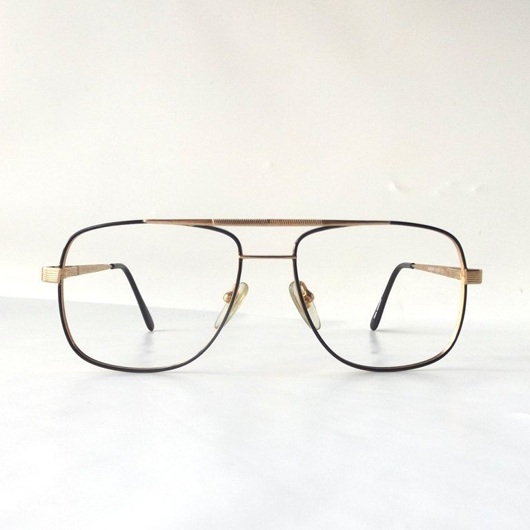 b79e617849 vintage 90 s NOS square eyeglasses gold metal frames black enamel modern retro  glasses aviators nerd geek double bridge oversized big large by ...