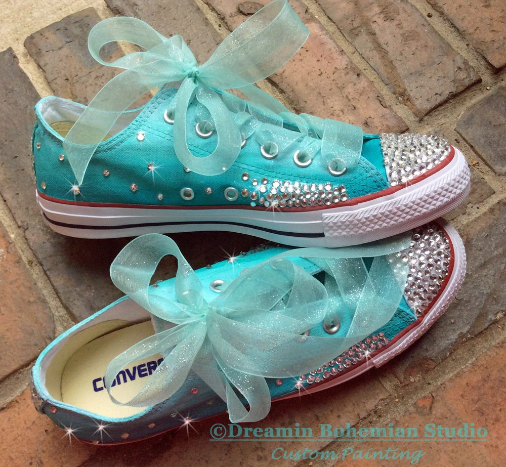 Wedding Custom Converse Low Top Shoes, Turquoise Ombré
