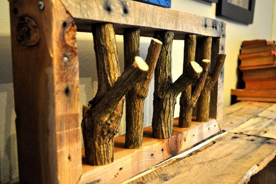 charming cabin coat rack. This charming and rustic coat rack is one of the simplest but great project  that I completed The frame being made using pallet wood Pallet Wood Branch Coat Rack by WhimsyWoodStory on Etsy Home