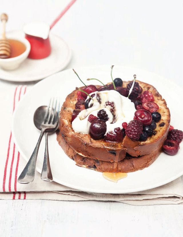French Toast Panettone with Natural Yoghurt, Fresh Berries and Honey by What Katie Ate