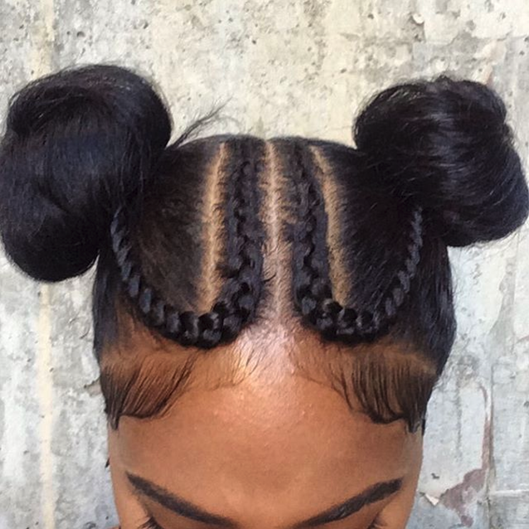 Cornrows Into Two Buns Natural Hair Styles Hair Styles Girl Hairstyles