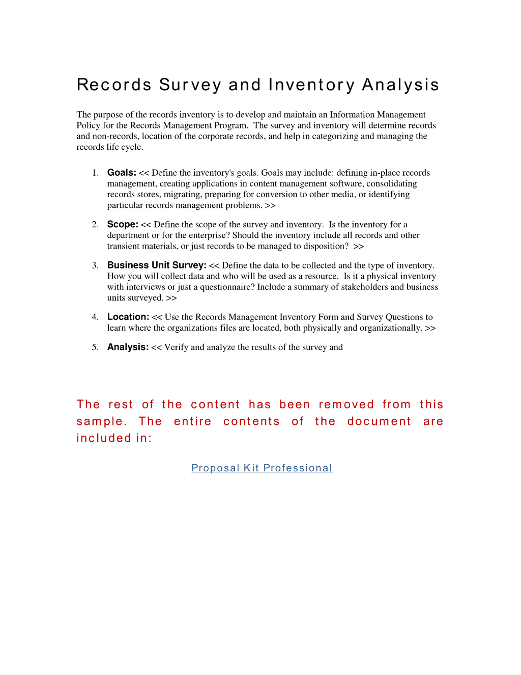 Records survey and inventory analysis the purpose of the for Records management policy template