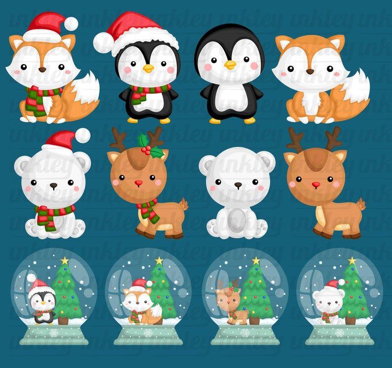 Cute Animal In Winter Clipart Winter Animal Clip Art Snow Etsy In 2021 Clip Art Winter Clipart Winter Animals