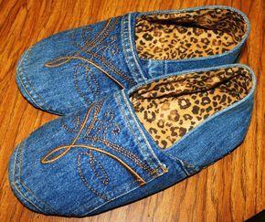 Zapatos de mezclilla reciclados - les encanta la idea de crear un par de algunos & quot; superado & quot;  los pantalones vaqueros!