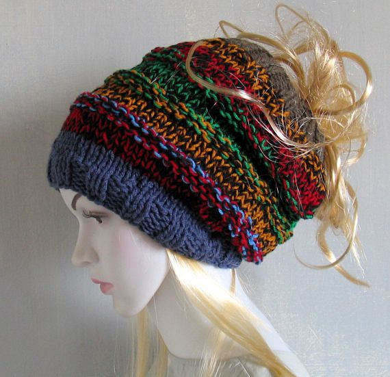 53c024432ec Dread Accessories Charcoal rasta tam dreadlocks hat Handmade Slouch Hat  Oversized Hand Knitted Slouchy Beanie Tam